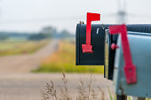 Country road and mail boxes, rural Alberta near Devon