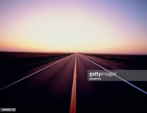 country road at sunrise, hokkaido, japan - plusphoto stock pictures, royalty-free photos & images