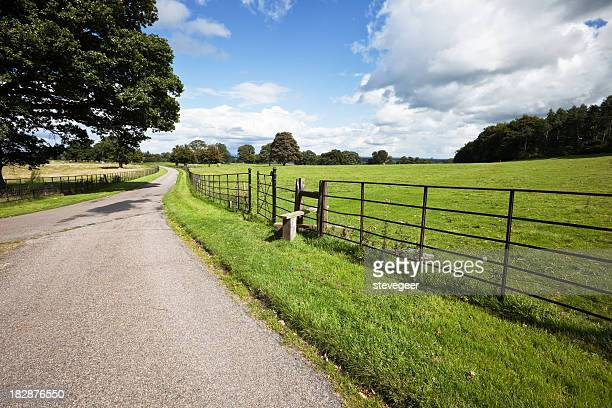Country Road, Field and Footpath in Wales