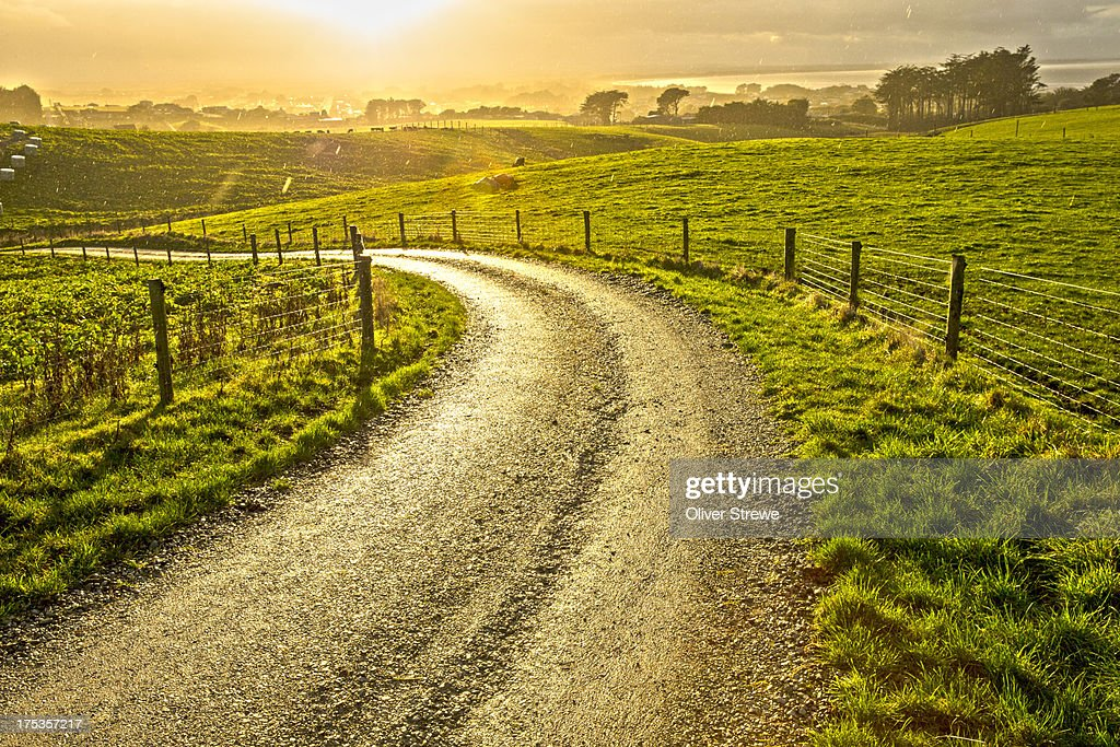 Country road in a sun shower : ストックフォト