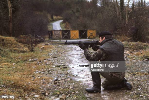 A country road in County Fermanagh linking the Republic of Ireland with Northern Ireland is blocked by a steel barrier 28th January 1978 A British...