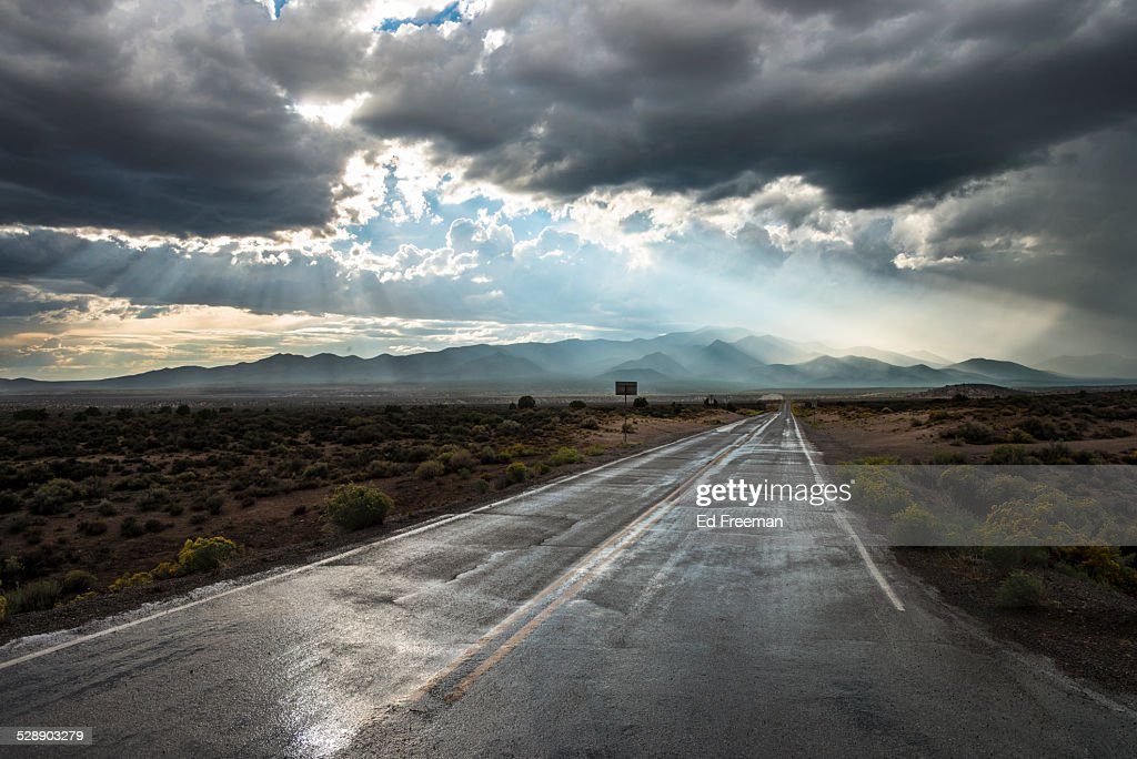 Country Road in Rainstorm : ストックフォト