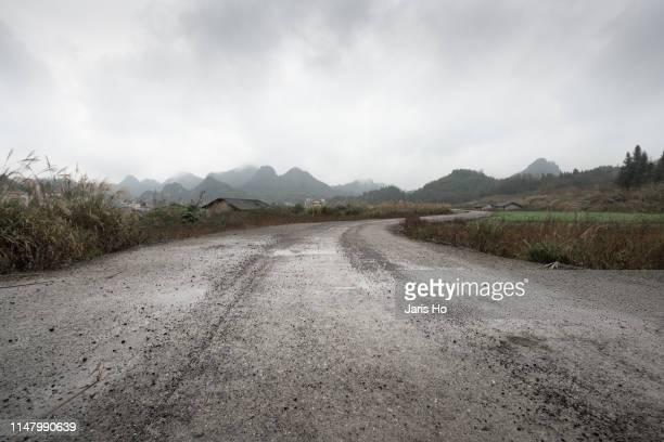 country road in south china. - bagnato foto e immagini stock