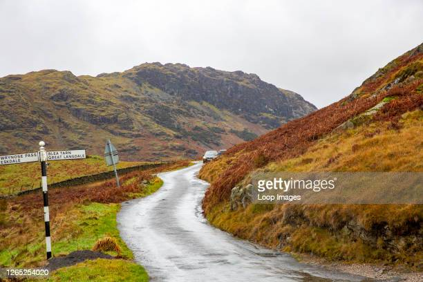Country road in the Lake District heading to Blea Tarn and Great Langdale in Cumbria.