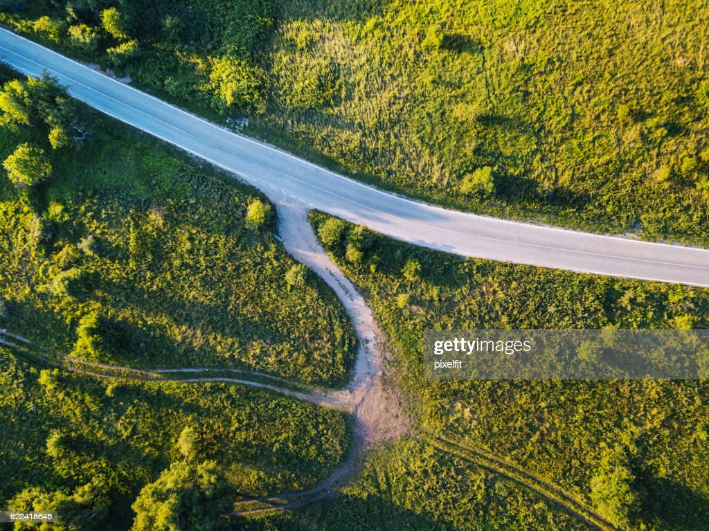 Country road intersection : Stock Photo