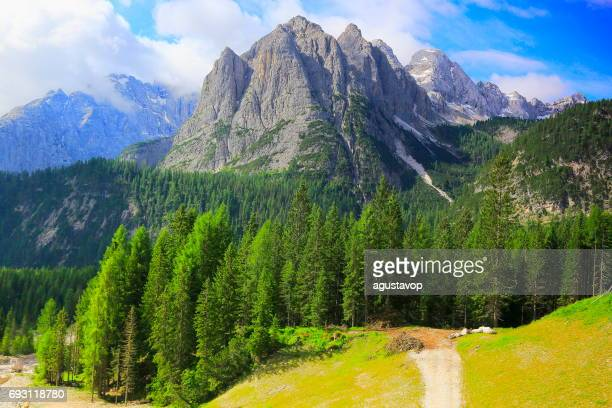 country road into idyllic pinnacles mountain range and woodland at springtime, dramatic panorama and majestic dolomites, italy tirol alps - alta badia stock pictures, royalty-free photos & images