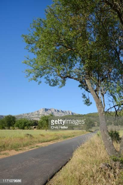country road leading to montagne or mont sainte-victoire mountain near aix-en-provence france - image photos et images de collection