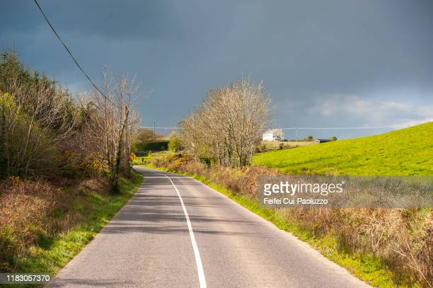 country road near old head of kinsale, county cork, ireland. - urban road stock pictures, royalty-free photos & images