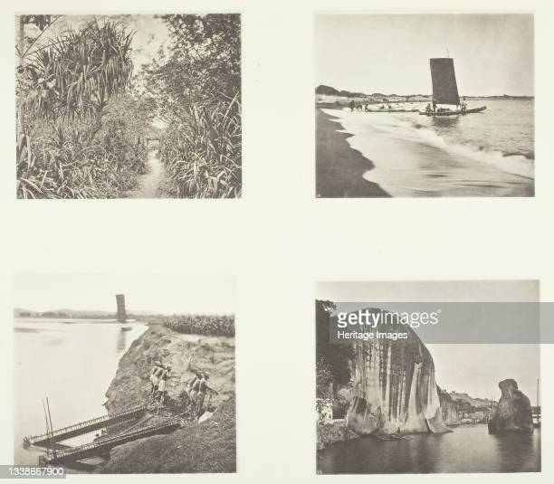Country Road near Taiwanfu; A Catamaran; Chain Pumps; Rock Inscriptions, Amoy, circa 1868. A work made of collotype, pl. V from the album...