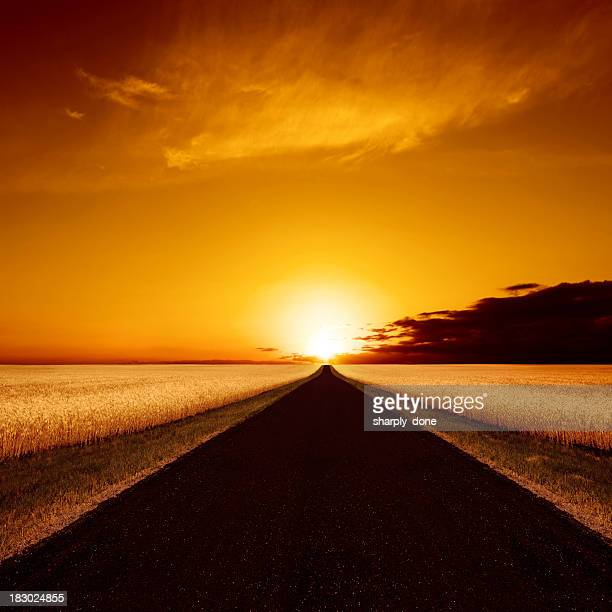 xxxl country road sunset - nebraska stock photos and pictures