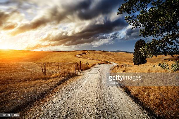 Country road through the fields of Tuscany