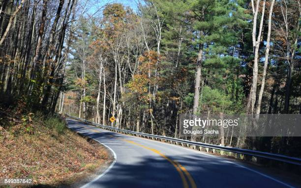 country roadway along the paynetown state recreation area, bloomington, indiana, usa - country geographic area stock pictures, royalty-free photos & images