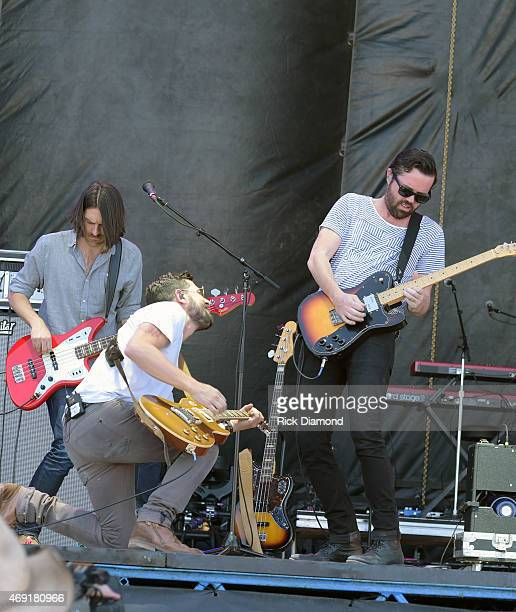 Country Rock Group Old Dominion members Geoff Sprung Matthew Ramsey and Brad Tursi perform at Country Thunder USA Day 1 on April 9 2015 in Florence...