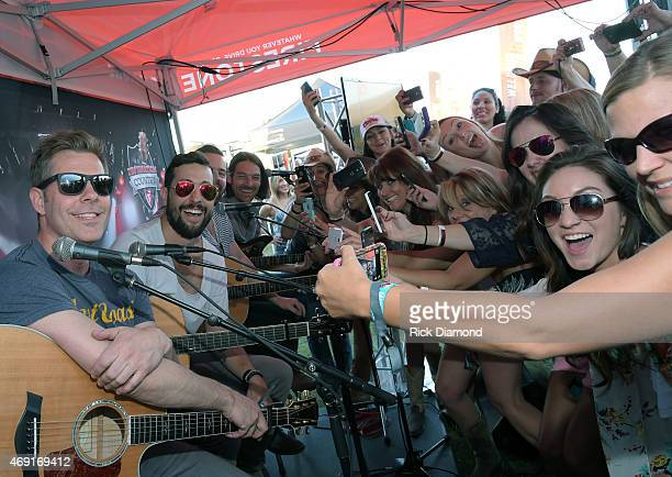 Country Rock Group Old Dominion Trevor Rosen Matthew Ramsey Brad Tursi and Geoff Sprung perform at Destination Country presented by Firestone during...
