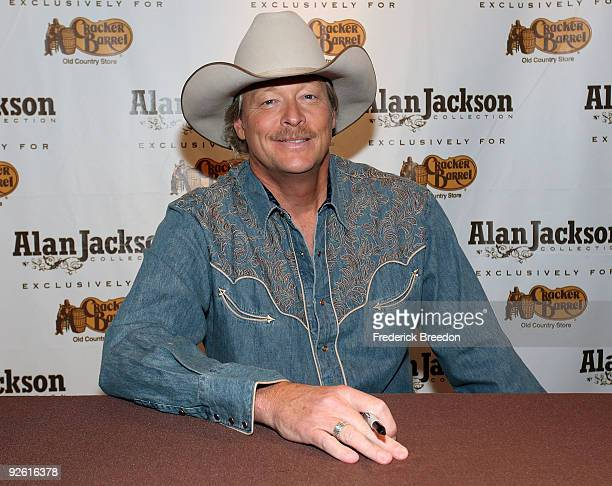 Country singer Alan Jackson attends an InStore Appearance To Promote The Alan Jackson Collection at Cracker Barrel on November 2 2009 in Mount Juliet...