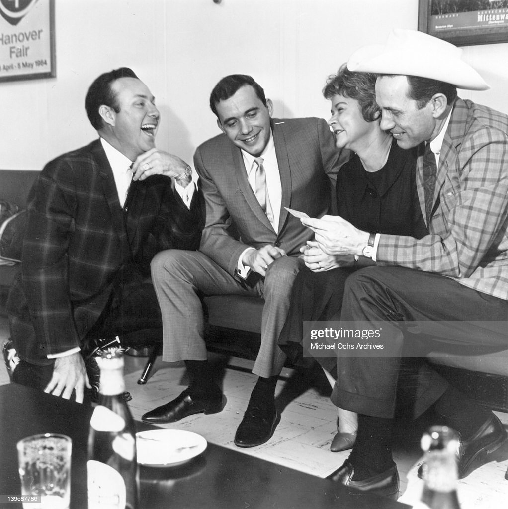 Country singer and actor Jim Reeves (far left with (l to r- Bobby Bare, Anita Kerr and Chet Atkins) circa 1960 in Nashville, Tennessee.