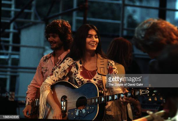 Country singer and musician Emmylou Harris performs in June 1975 in Central Park New York City New York