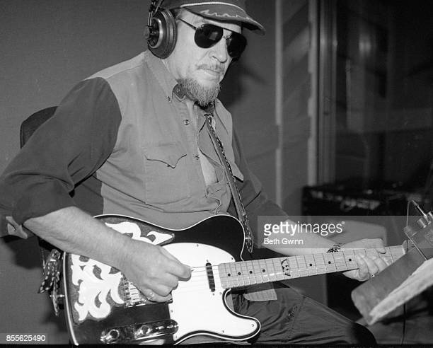 Country singer and songwriter Waylon Jennings in the studio October 161995 Nashville Tennessee