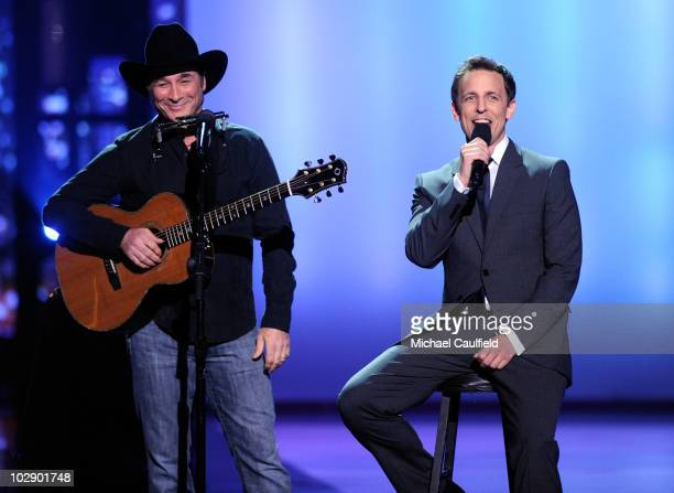 Country singer Clint Black and actor/host Seth Meyers perform onstage during the 2010 ESPY Awards at Nokia Theatre LA Live on July 14 2010 in Los...