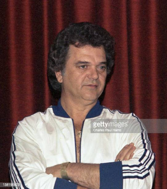 Country singer Conway Twitty is interviewed at the Country Music Festival on April 16, 1979 in Wembley, London, England.