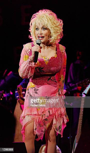 Country Singer Dolly Parton performs at the House of Blues on August 7 2002 in West Hollywood California