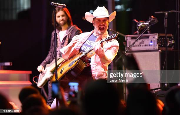 Country singer Dustin Lynch performs at the Victoria's Secret PINK Nation University celebration at West Virginia University on October 26 2017 in...