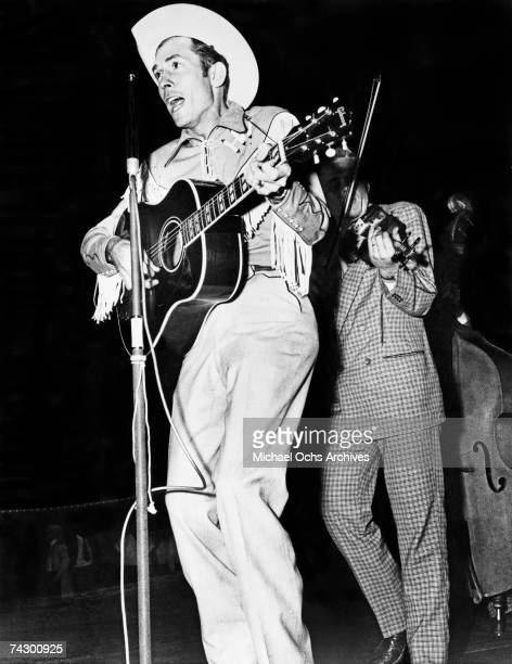 Country singer Hank Williams performs at the Hadacol Caravan Show in September 1951 in Columbus Ohio