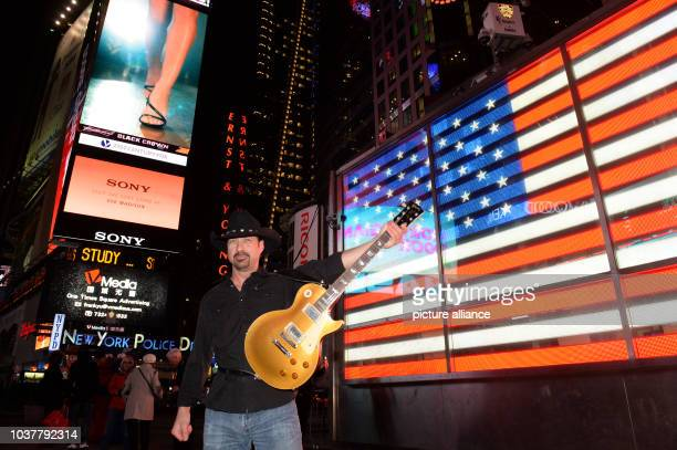 Country singer Jamie Lee Thurston poses on Times Square at night in New York City USA 06 March 2014 Photo Felix Hoerhager | usage worldwide