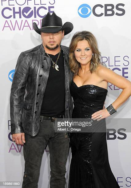 Country singer Jason Aldean and wife Jessica Aldean arrive for the 34th Annual People's Choice Awards - Arrivals held at Nokia Theater at L.A. Live...