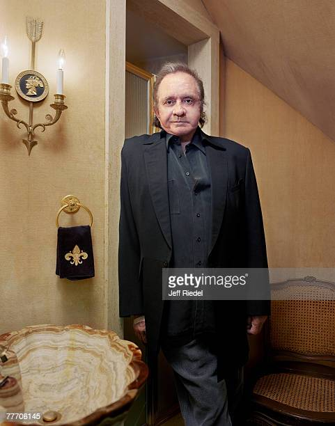 Country singer Johnny Cash is photographed for The New York Times Magazine in April 2000 at home in Hendersonvillem Tennessee