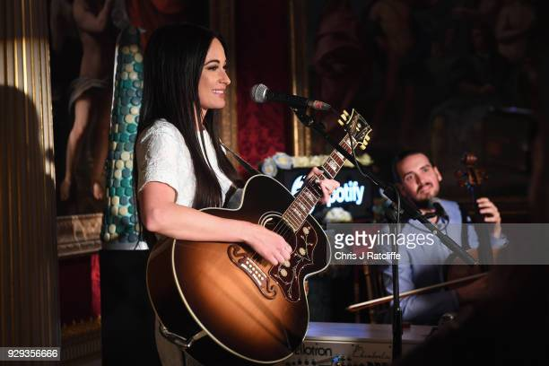 Country singer Kacey Musgraves performs for her Spotify Premium fans at London's historic Spencer House on March 8 2018 in London England