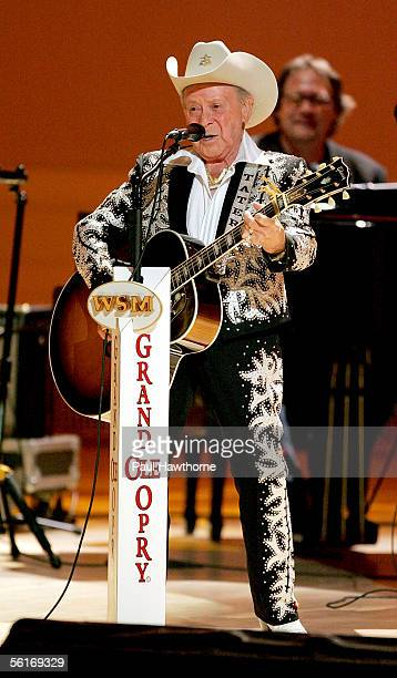 """Country singer Little Jimmy Dickens performs during a taping of the """"Grand Ole Opry"""" at Carnegie Hall November 14, 2005 in New York City."""