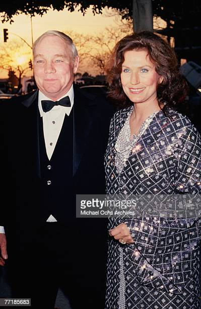 """Country singer Loretta Lynn poses for a portrait with her husband Mooney Lynn at the Academy Awards Ceremony, where the biographical film """"Coal..."""