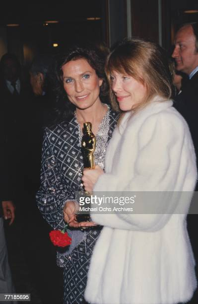Country singer Loretta Lynn poses for a portrait with Sissy Spacek at the Academy Awards Ceremony which was held on March 31, 1981 at the Dorothy...