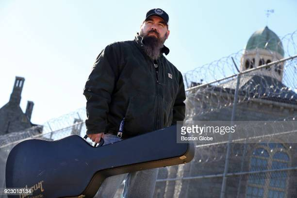 Country singer Mickey Lamantia poses for a portrait outside the Rhode Island Department of Corrections where he he works as a guard in Cranston RI on...