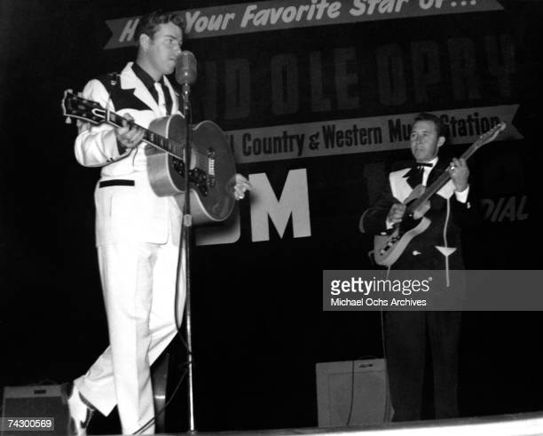 Country singer Slim Whitman performs at the Grand Ole Opry circa 1955 in Nashville Tennessee