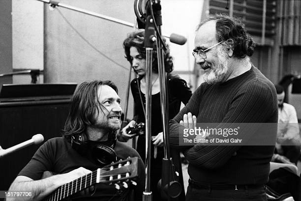 Country singer songwriter Willie Nelson and producer Jerry Wexler in a recording session for Willie Nelson in February, 1973 at the Atlantic Records...