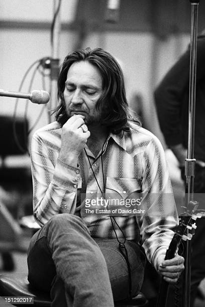 Country singer songwriter Willie Nelson in a recording session in February, 1973 at the Atlantic Records studio in New York City, New York.
