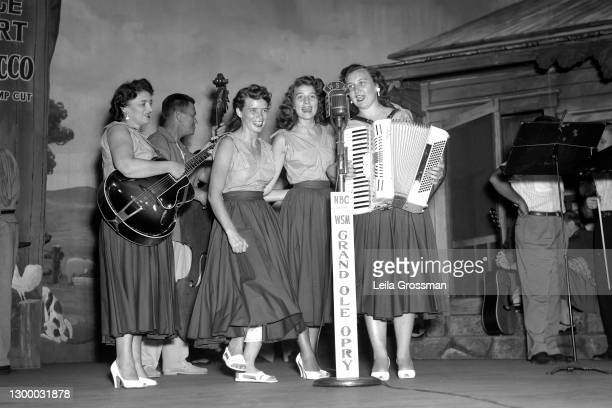 Country singer songwriters The Carter Family on stage at the Grand Ole Opry in 1951 in Nashville, Tennessee.