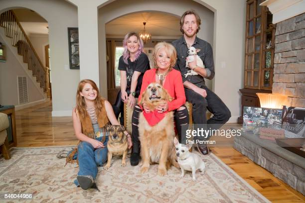 Country singer Tanya Tucker and children Layla Presley and Beau are photographed with their dogs for Closer Weekly Magazine on July 18 2017 at home...