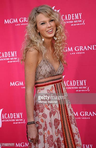 Country singer Taylor Swift arrives at the 41st Annual Academy Of Country Music Awards held at the MGM Grand Garden Arena on May 23 2006 in Las Vegas...