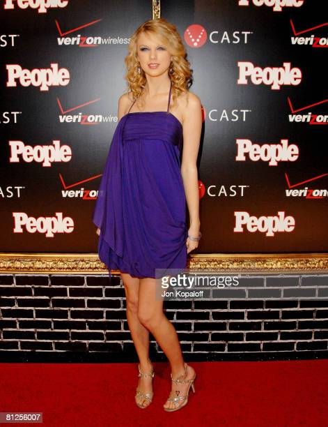 Country singer Taylor Swift arrives to the 'Verizon Wireless People Magazine's PreGrammy Party' at Avalon Hollywood on February 8 2008 in Hollywood...