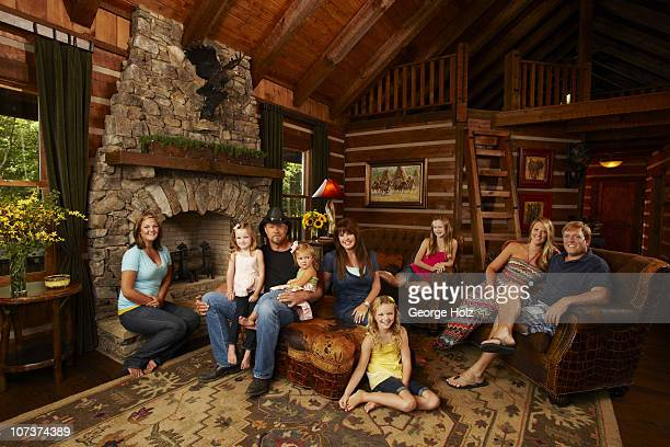 Country singer Trace Adkins with family daughters Sarah Trinity granddaughter Hadley wife Rhonda daughters Brianna Mackenzie Tarah and soninlaw Dave...