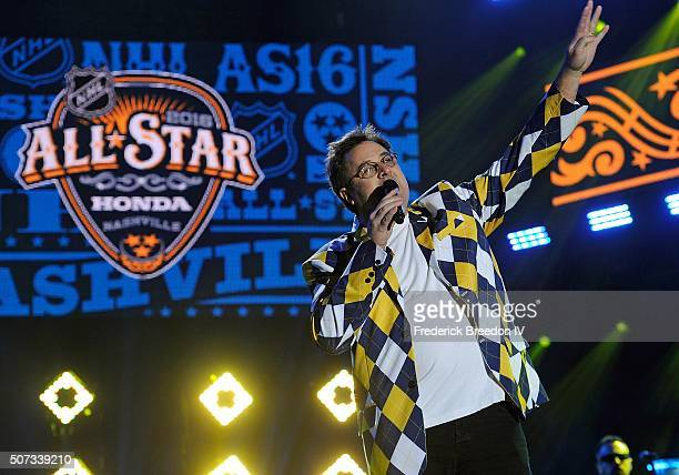 Country singer Vince Gill speaks at the Grand Opening Ceremony of the 2016 NHL All Star Festivities at the Bridgestone Winter Park Honda Stage at...