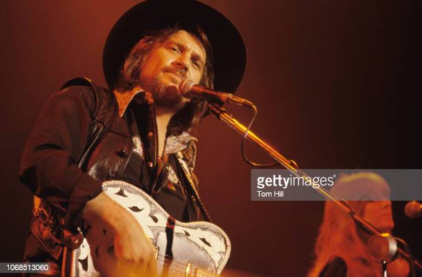 Country singer Waylon Jennings performs at Alex Cooley's Capri Ballroom on February 17 1979 in Atlanta Georgia
