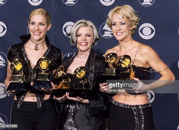 Country singers the Dixie Chicks pose with their Grammy awards for Best Country Album and Best Country Performance by a Group with Vocals at the 41st...