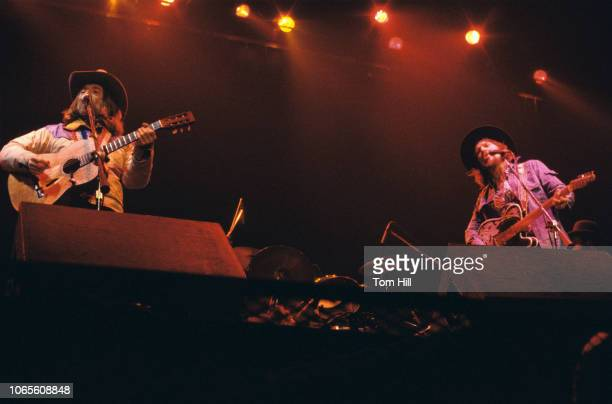 Country singers Willie Nelson and Waylon Jennings perform at the Omni Coliseum on March 2 1978 in Atlanta Georgia