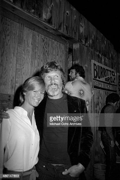 Country star and actor Kris Kristofferson and future wife Lisa Meyers attend a Jerry Lee Lewis concert at the Palonino club on October 20 1982 in Los...
