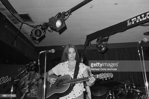 Country star Emmylou Harris performs at the Palonino club on August 16 1982 in Los Angeles California