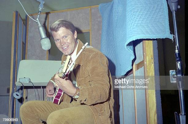 Country star Glen Campbell records at the Capitol Records studios on June 1 1967 in Los Angeles California